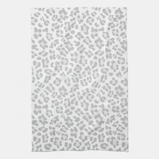 Girly Leopard Animal Print Silver Chic Kitchen Towel