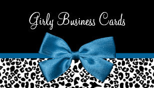 Animal print business cards templates zazzle girly leopard print boutique pretty blue ribbon business card reheart Images