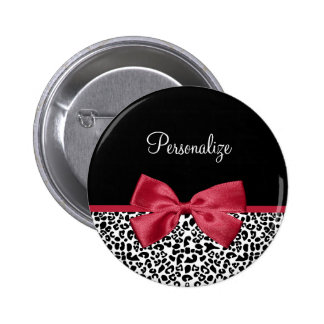 Girly Leopard Print Bright Red Ribbon With Name 2 Inch Round Button
