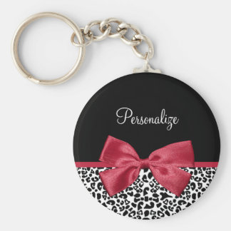 Girly Leopard Print Bright Red Ribbon With Name Basic Round Button Keychain