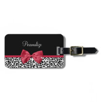 Girly Leopard Print Bright Red Ribbon With Name Luggage Tag
