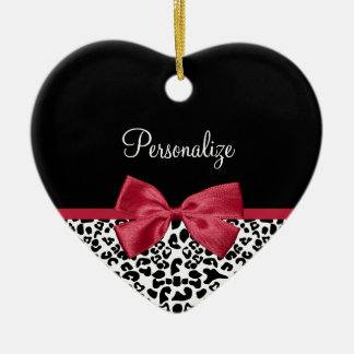 Girly Leopard Print Bright Red Ribbon With Name Double-Sided Heart Ceramic Christmas Ornament