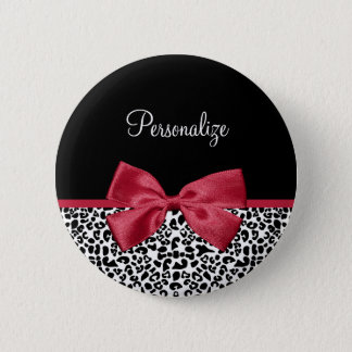 Girly Leopard Print Bright Red Ribbon With Name Pinback Button