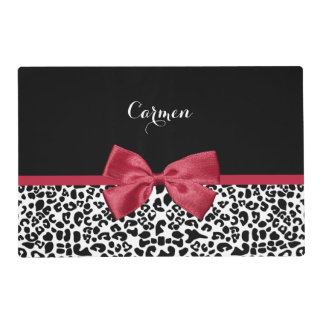 Girly Leopard Print Bright Red Ribbon With Name Placemat