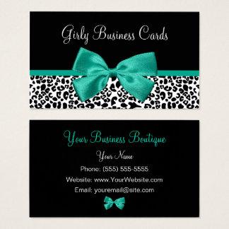 Girly Leopard Print Emerald Green Ribbon Business Card