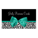 Girly Leopard Print Emerald Green Ribbon Double-Sided Standard Business Cards (Pack Of 100)
