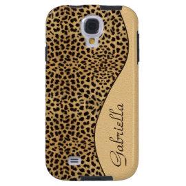 Girly Leopard Print Monogram Galaxy S4 Case