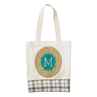 Girly Leopard Print Pattern with Aqua Monogram Zazzle HEART Tote Bag