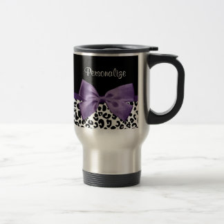 Girly Leopard Print Pretty Purple Ribbon With Name 15 Oz Stainless Steel Travel Mug