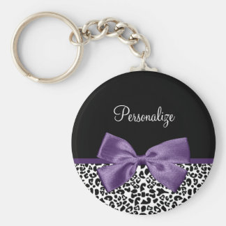 Girly Leopard Print Pretty Purple Ribbon With Name Basic Round Button Keychain