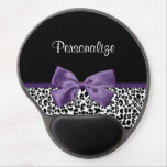 Girly Leopard Print Pretty Purple Ribbon With Name Gel Mouse Pad