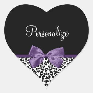 Girly Leopard Print Pretty Purple Ribbon With Name Heart Sticker