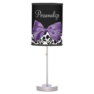 Girly Leopard Print Pretty Purple Ribbon With Name Desk Lamps
