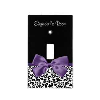Girly Leopard Print Pretty Purple Ribbon With Name Light Switch Cover