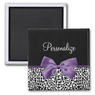 Girly Leopard Print Pretty Purple Ribbon With Name Fridge Magnets