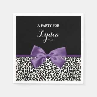 Girly Leopard Print Pretty Purple Ribbon With Name Napkin