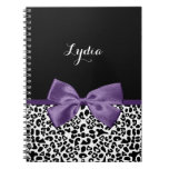 Girly Leopard Print Pretty Purple Ribbon With Name Note Books