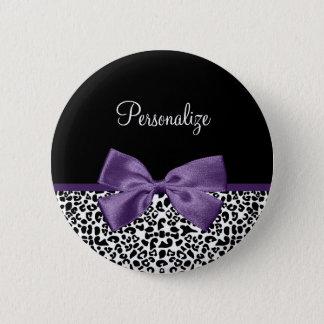 Girly Leopard Print Pretty Purple Ribbon With Name Pinback Button