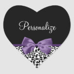 Girly Leopard Print Pretty Purple Ribbon With Name Stickers