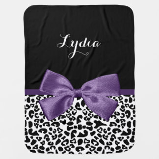 Girly Leopard Print Pretty Purple Ribbon With Name Swaddle Blanket
