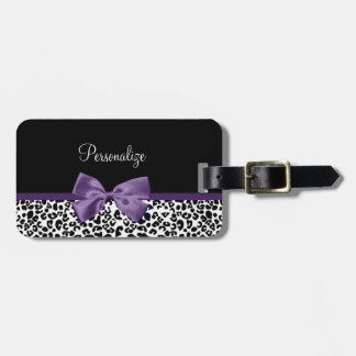 Girly Leopard Print Pretty Purple Ribbon With Name Tag For Luggage