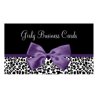 Girly Leopard Print Trendy Purple Ribbon Business Card Templates
