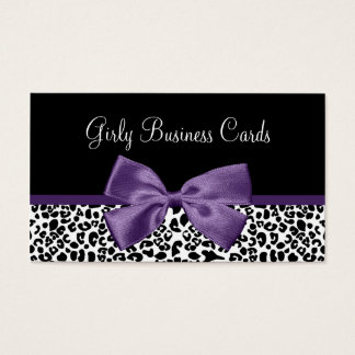 Girly Leopard Print Trendy Purple Ribbon Business Card