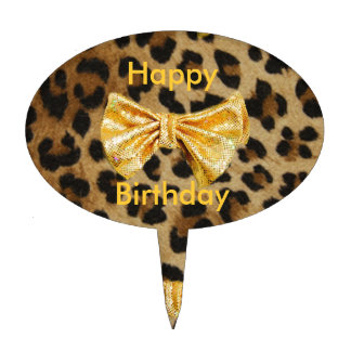 Girly Leopard Print With Gold Bling Bows Cake Topper