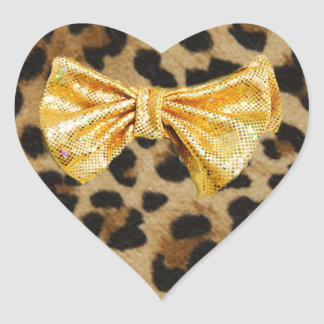 Girly Leopard Print With Gold Bling Bows Heart Sticker