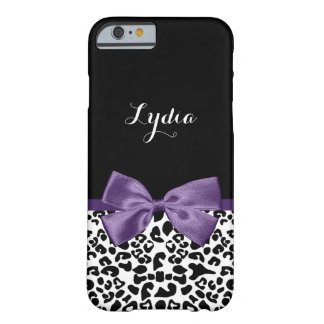 Girly Leopard Print With Name and Dark Purple Bow Barely There iPhone 6 Case