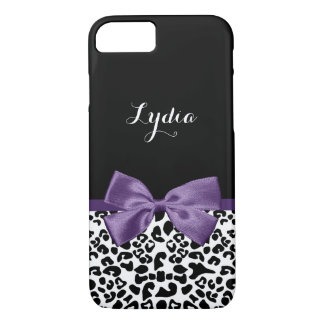 Girly Leopard Print With Name and Dark Purple Bow iPhone 7 Case
