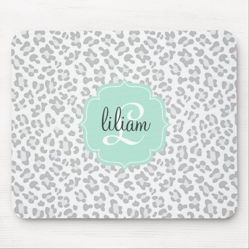 Girly Leopard Silver and Mint Green Personalized Mouse Pad