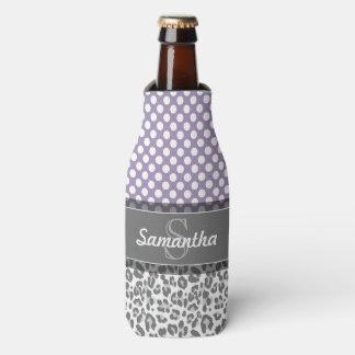 Girly Leopard Spot Print Pattern Custom Monograms Bottle Cooler