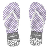 Girly Leopard Spot Print Pattern Custom Monograms Flip Flops