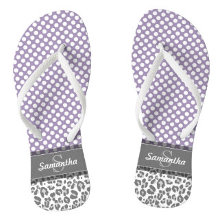 Girly Leopard Spot Print Pattern Custom Monograms Flip Flops