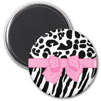 Girly Leopard Zebra Animal Print and Cute Pink Bow 2 Inch Round Magnet