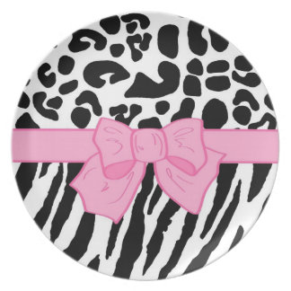Girly Leopard Zebra Animal Print and Cute Pink Bow Dinner Plate
