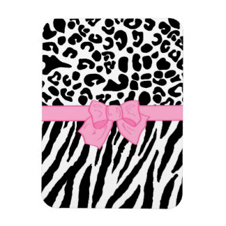 Girly Leopard Zebra Animal Print and Cute Pink Bow Rectangular Photo Magnet