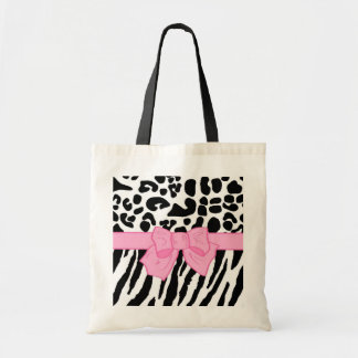 Girly Leopard Zebra Animal Print and Cute Pink Bow Tote Bag