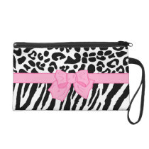 Girly Leopard Zebra Animal Print and Cute Pink Bow Wristlet