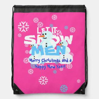 Girly Let It Snow Men Snowmen Tacky Christmas Drawstring Bag