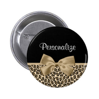 Girly Light Brown Jaguar Cute Brown Bow With Name 2 Inch Round Button