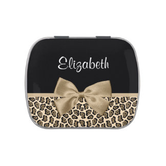 Girly Light Brown Jaguar Cute Brown Bow With Name Candy Tins
