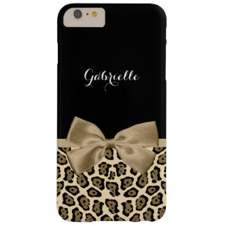 Girly Light Brown Jaguar Cute Brown Bow With Name Barely There iPhone 6 Plus Case