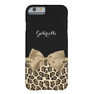 Girly Light Brown Jaguar Cute Brown Bow With Name Barely There iPhone 6 Case