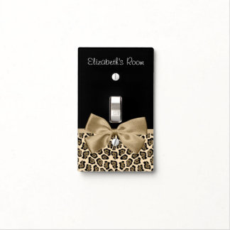 Girly Light Brown Jaguar Cute Brown Bow With Name Light Switch Cover