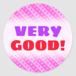 [ Thumbnail: Girly Light Pink & Dark Pink Heart Stripes Pattern Round Sticker ]