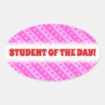 [ Thumbnail: Girly Light Pink & Dark Pink Heart Stripes Pattern Sticker ]