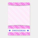 [ Thumbnail: Girly Light Pink & Dark Pink Heart Stripes Pattern Notes ]