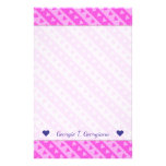 [ Thumbnail: Girly Light Pink & Dark Pink Heart Stripes Pattern Stationery ]
